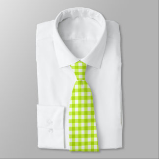 Lime Green Classic Gingham Check Pattern Tie