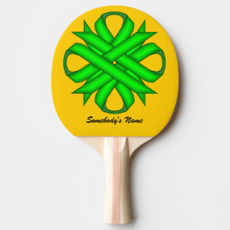 Lime Green Clover Ribbon by Kenneth Yoncich Ping Pong Paddle
