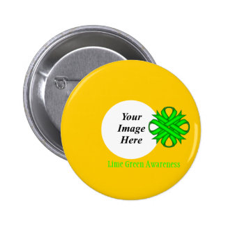 Lime Green Clover Ribbon Template 6 Cm Round Badge