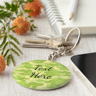 Lime Green Color Camouflage Pattern Key Ring