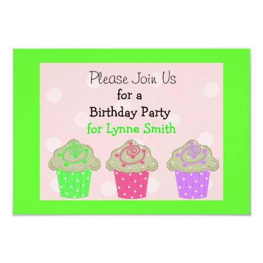 Lime Green Cupcake Birthday Party Invitation