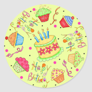 Lime Green Cupcakes and Cake Happy Birthday Stickers