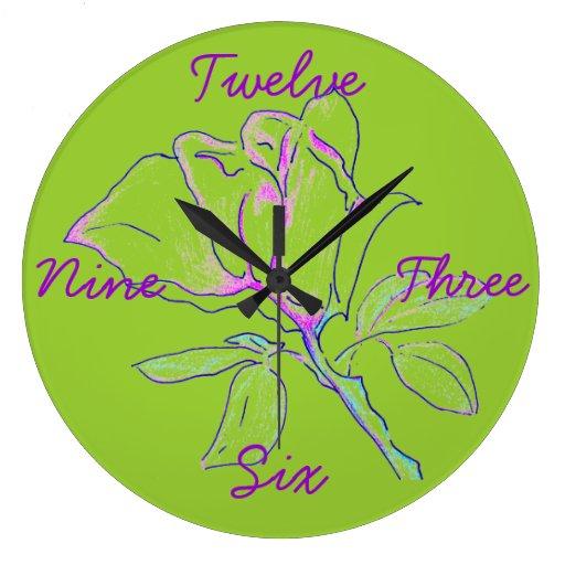 Lime Green Cursive Clock
