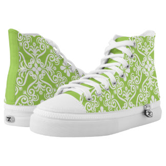 Lime Green Damask Pattern by Orchard Three Printed Shoes