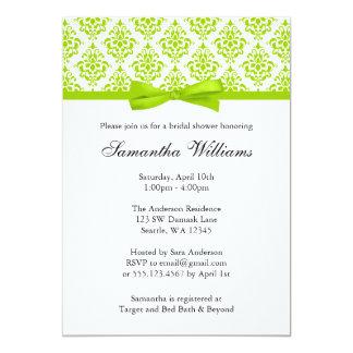 Lime Green Damask Ribbon Bow Bridal Shower 13 Cm X 18 Cm Invitation Card