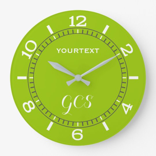 Lime Green Decor Dial Easily Personalised Large Clock