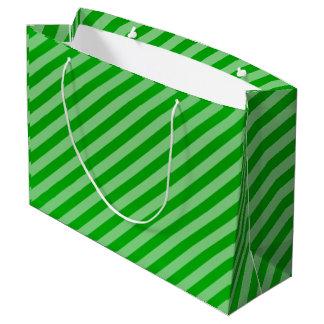 Lime Green Diagonal Stripe Pattern Large Gift Bag