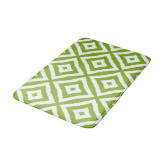 Lime Green Diamond Squares Ikat Mosaic Pattern Bath Mat