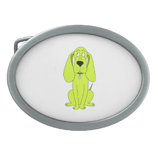 Lime Green Dog. Cute Hound Cartoon. Belt Buckle