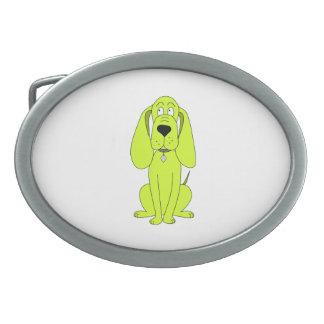 Lime Green Dog. Cute Hound Cartoon. Oval Belt Buckles
