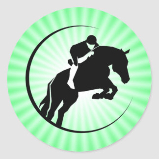 Lime Green Equestrian Classic Round Sticker