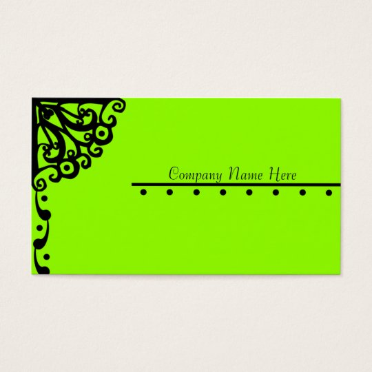 Lime Green Fancy Design Business Card