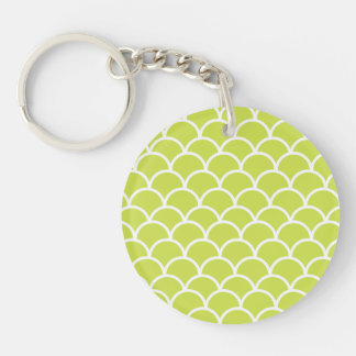 Lime green fish scale pattern key ring