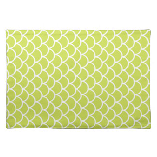 Lime green fish scale pattern placemat