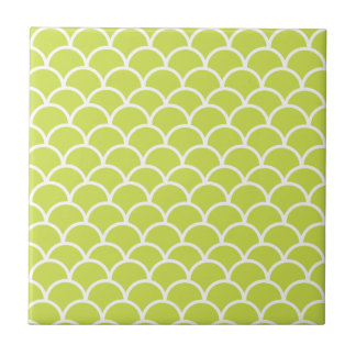 Lime green fish scale pattern tile