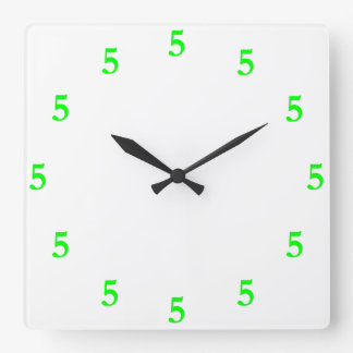 Lime Green Five o'Clock Somewhere on White Square Wall Clock