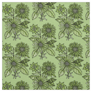 Lime-Green Floral Bouquet Fabric