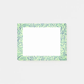Lime Green Floral Scrollwork Graphic Post-it® Notes