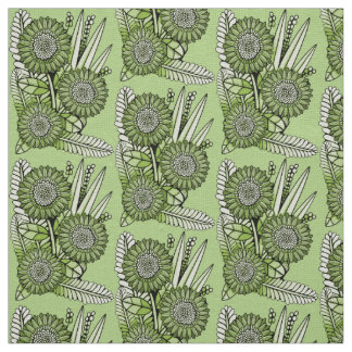 Lime-Green Floral Spray Fabric