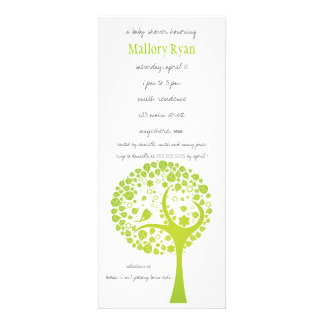 Lime Green Flowering Tree Baby Shower Invitation