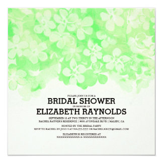Lime Green Flowers Bridal Shower Invitations