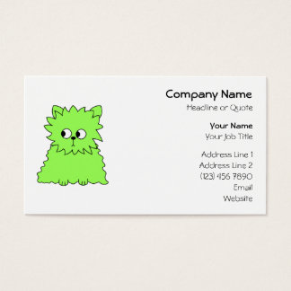 Lime Green Fluffy Cat. Business Card