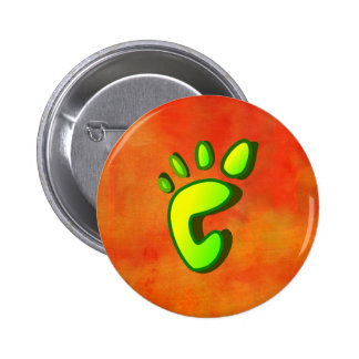 Lime Green Footprint on Orange Abstract 6 Cm Round Badge