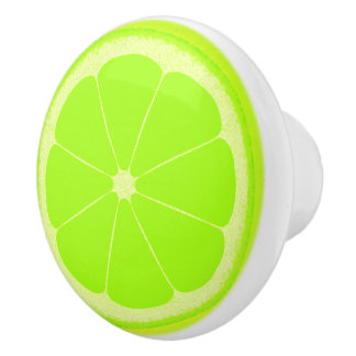 Lime green fruit slice knob handle