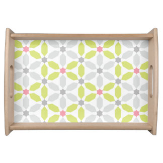 Lime Green Geometric Pattern Serving Tray