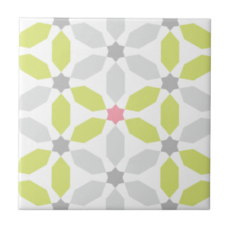 Lime Green Geometric Pattern Small Square Tile