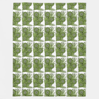 Lime Green Gerbera Daisy Flower Bouquet Fleece Blanket