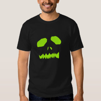 Lime Green Ghoul Face on Black T-Shirt