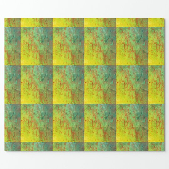 Lime Green gift wrapping paper, grid, 3d pattern
