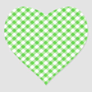 Lime Green Gingham Checkered Patern Heart Sticker