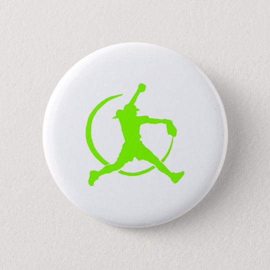 "Lime Green Girl's""FAST PITCH SOFTBALL"" image 6 Cm Round Badge"