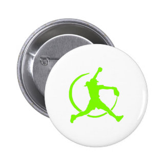 """Lime Green Girl's""""FAST PITCH SOFTBALL"""" image 6 Cm Round Badge"""