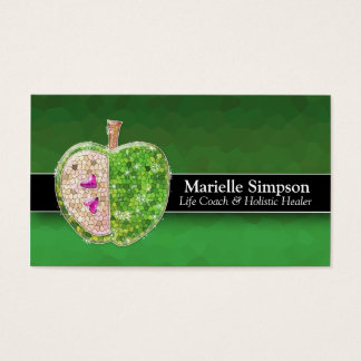 Lime Green Glitter Apple Holistic Healer Nutrition Business Card
