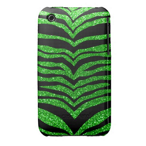 Lime green glitter tiger stripes Case-Mate iPhone 3 case