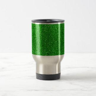 Lime green glitter travel mug