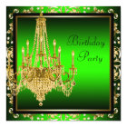 Lime Green Gold Damask Chandelier Birthday Party Card