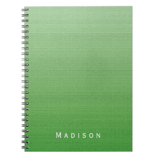 Lime Green Gradient Medium Texture Custom Name Notebooks