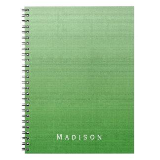 Lime Green Gradient Medium Texture Custom Name Spiral Note Books
