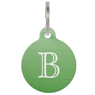 Lime Green Gradient Ombre Medium Texture Monogram Pet Name Tag