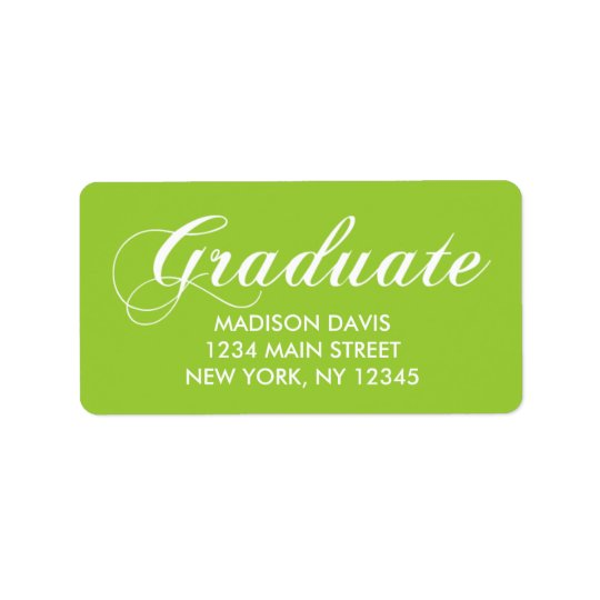 Lime Green Graduation Address Labels