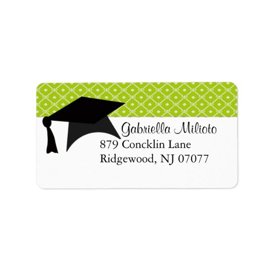 Lime Green Graduation Cap Label