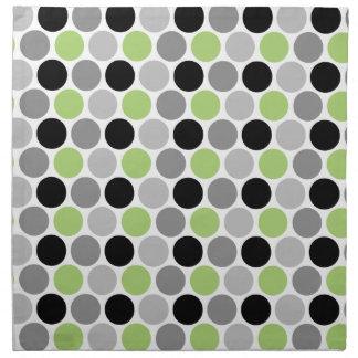 Lime Green Gray Black Retro Circles Napkins