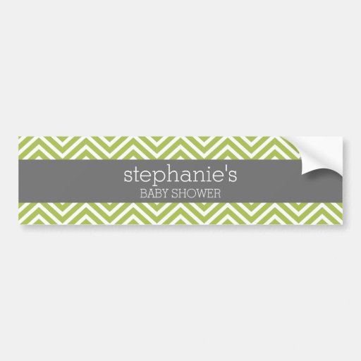 Lime Green & Gray Gender Neutral Baby Shower Suite Bumper Stickers