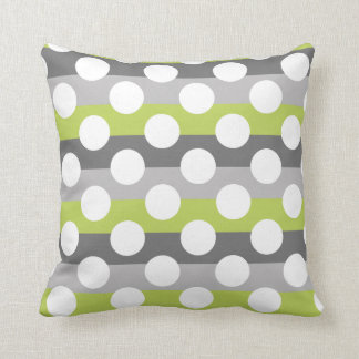 Lime Green Gray White Modern Polka Dot Pattern Cushion