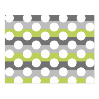Lime Green Gray White Modern Polka Dot Pattern Postcard