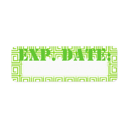Lime Green Greek Plaid Expiration Date Labels